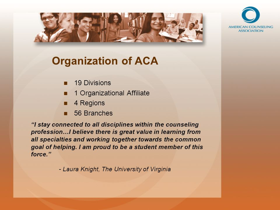 Organization of ACA 19 Divisions 1 Organizational Affiliate 4 Regions 56 Branches I stay connected to all disciplines within the counseling profession…I believe there is great value in learning from all specialties and working together towards the common goal of helping.