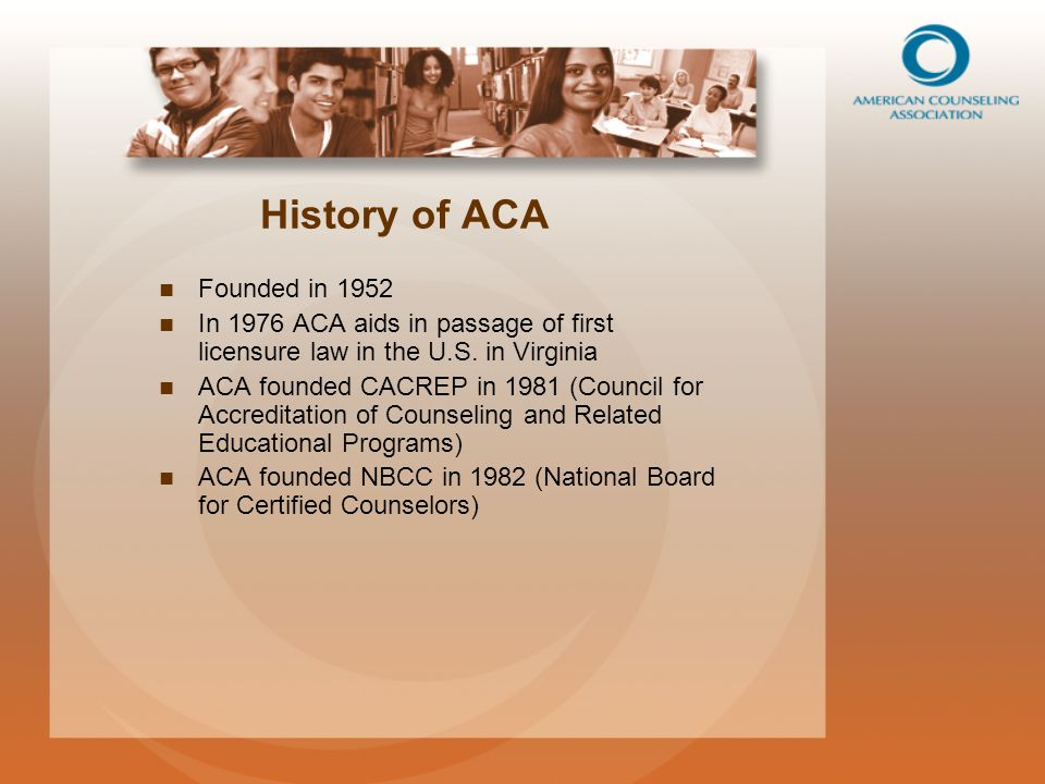 ACA Governing Council Provides strategic leadership Composed of:   Nationally elected ACA officers   Treasurer   One representative from each division and region   Student representative