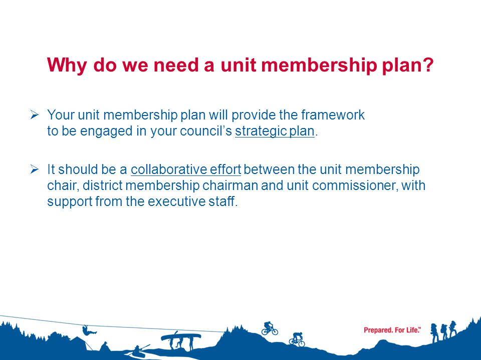 Unit Membership Plan Elements I.Identify and verify currently registered members II.Unit membership analysis/goal III.Plans for membership growth IV.Community partnership