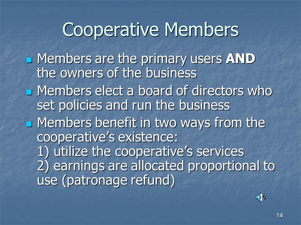 14 Cooperative Members Members are the primary users AND the owners of the business Members are the primary users AND the owners of the business Members elect a board of directors who set policies and run the business Members elect a board of directors who set policies and run the business Members benefit in two ways from the cooperative's existence: 1) utilize the cooperative's services 2) earnings are allocated proportional to use (patronage refund) Members benefit in two ways from the cooperative's existence: 1) utilize the cooperative's services 2) earnings are allocated proportional to use (patronage refund)