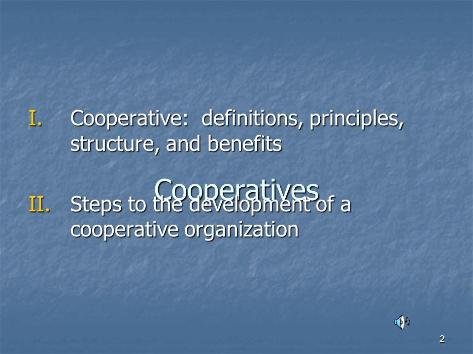 3 I.Cooperative A state chartered business, organized and operated as a corporation.