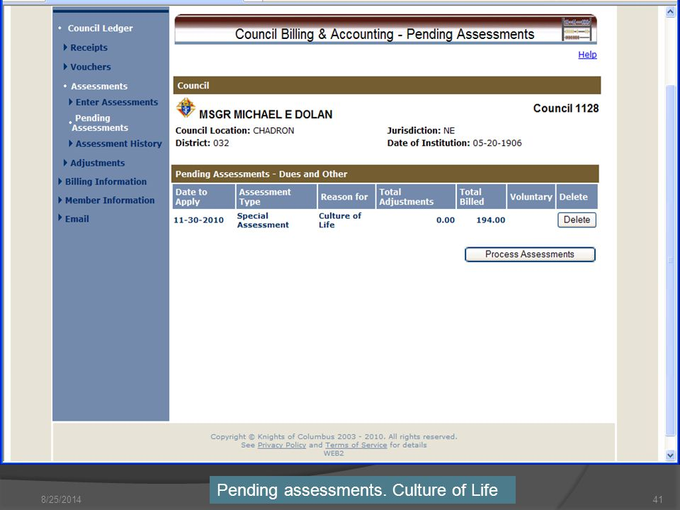 8/25/ Pending assessments. Culture of Life