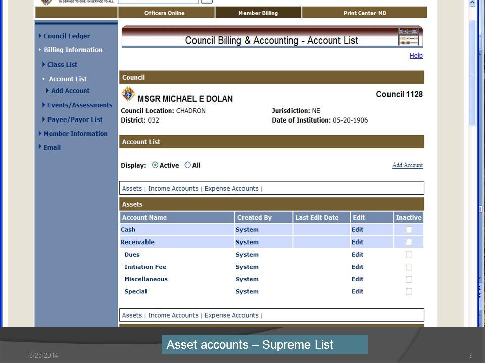 8/25/20149 Asset accounts – Supreme List