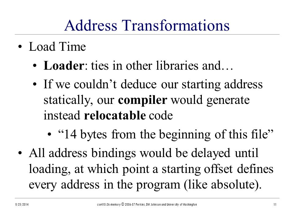 Address Transformations 8/25/2014cse410-26-memory © 2006-07 Perkins, DW Johnson and University of Washington11 Load Time Loader: ties in other libraries and… If we couldn't deduce our starting address statically, our compiler would generate instead relocatable code 14 bytes from the beginning of this file All address bindings would be delayed until loading, at which point a starting offset defines every address in the program (like absolute).