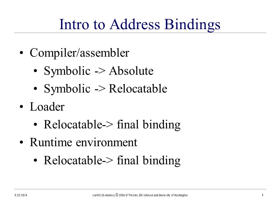 Intro to Address Bindings 8/25/2014cse410-26-memory © 2006-07 Perkins, DW Johnson and University of Washington9 Compiler/assembler Symbolic -> Absolute Symbolic -> Relocatable Loader Relocatable-> final binding Runtime environment Relocatable-> final binding
