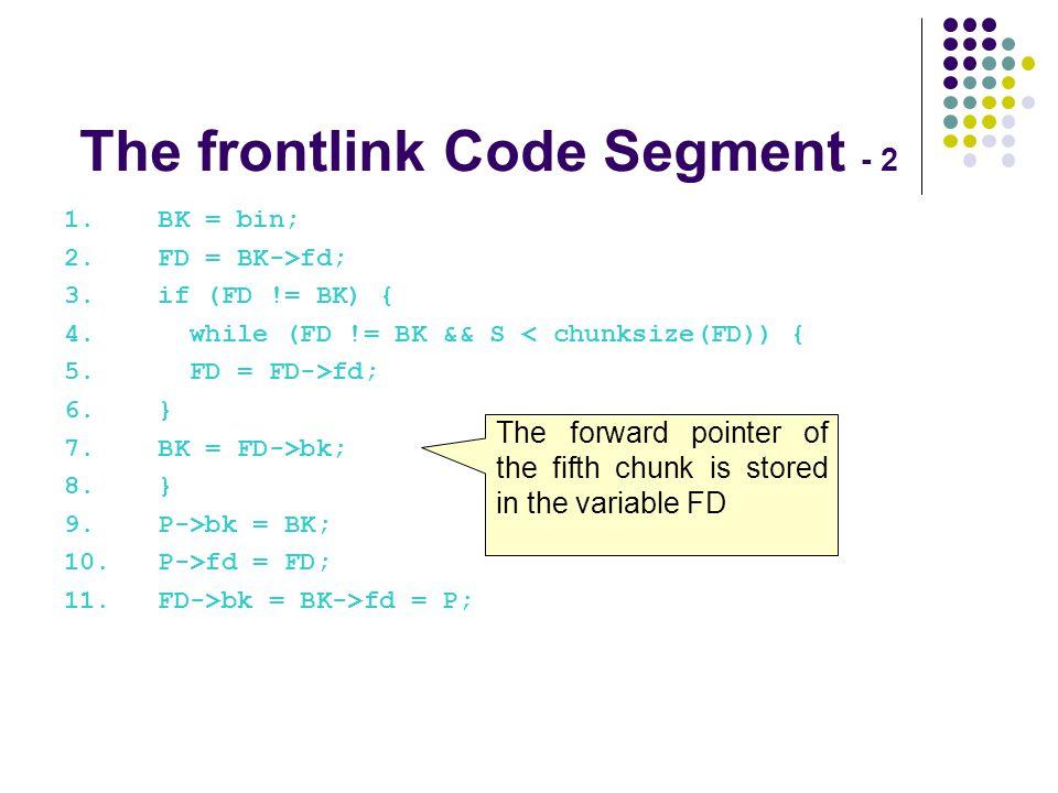 1. BK = bin; 2. FD = BK->fd; 3. if (FD != BK) { 4. while (FD != BK && S < chunksize(FD)) { 5. FD = FD->fd; 6. } 7. BK = FD->bk; 8. } 9. P->bk = BK; 10