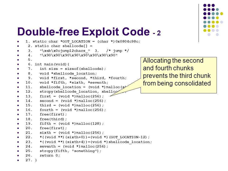Double-free Exploit Code - 2 1. static char *GOT_LOCATION = (char *)0x0804c98c; 2. static char shellcode[] = 3.
