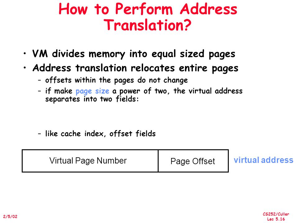 CS252/Culler Lec /5/02 How to Perform Address Translation.