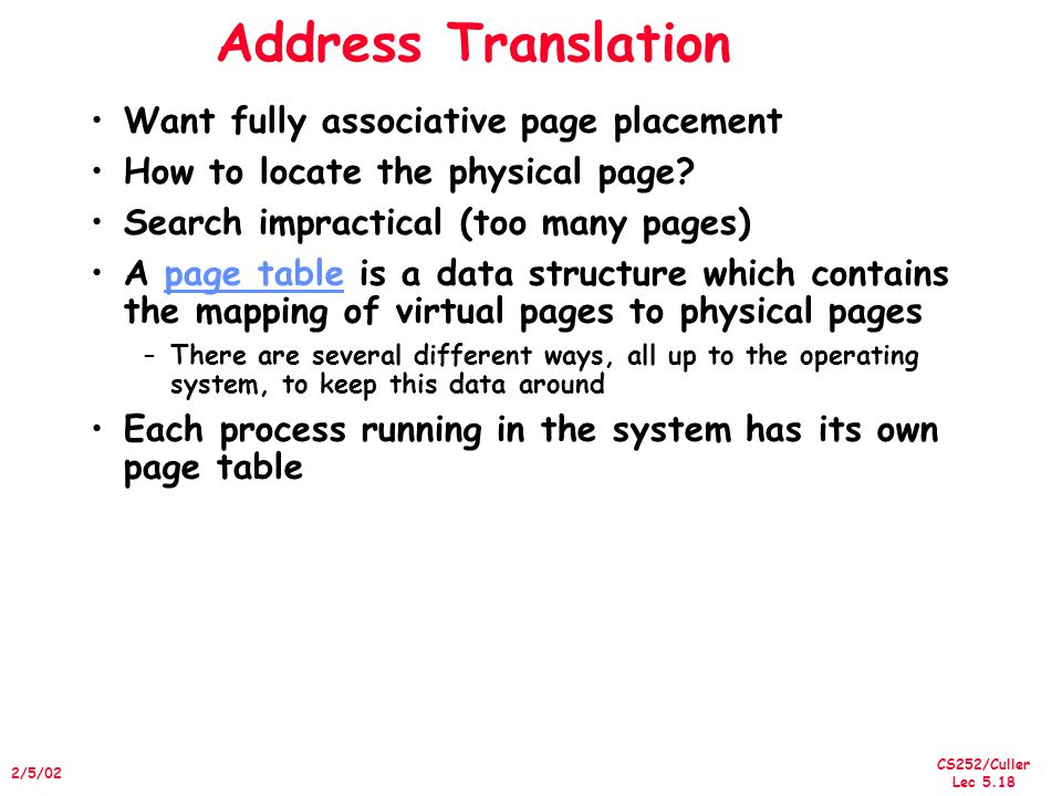 CS252/Culler Lec 5.18 2/5/02 Address Translation Want fully associative page placement How to locate the physical page.