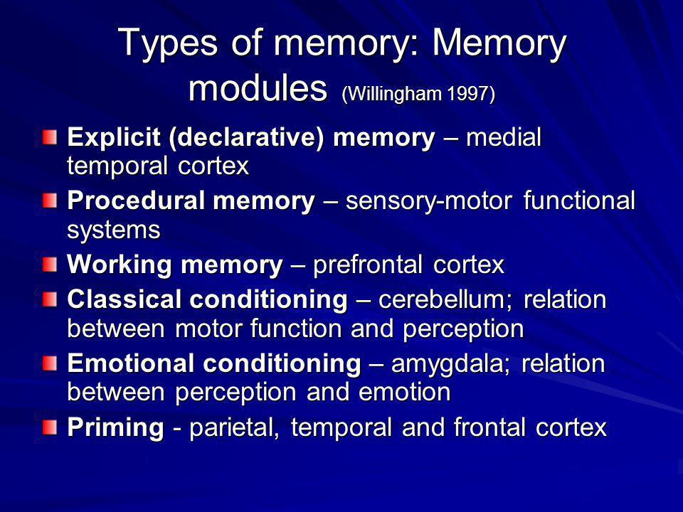 Types of memory: Memory modules (Willingham 1997) Explicit (declarative) memory – medial temporal cortex Procedural memory – sensory-motor functional