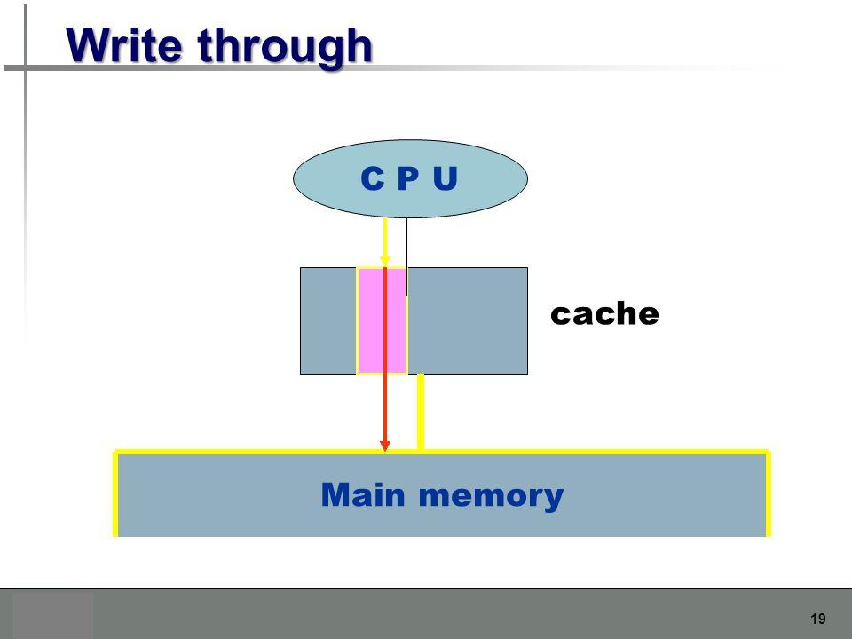 19 Write through C P U Main memory cache