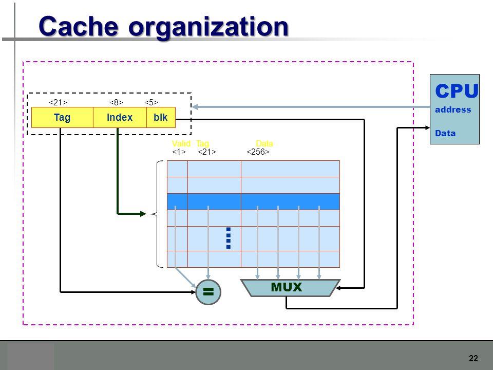 22 Cache organization : : Valid Tag Data CPU address Data = MUX TagIndexblk