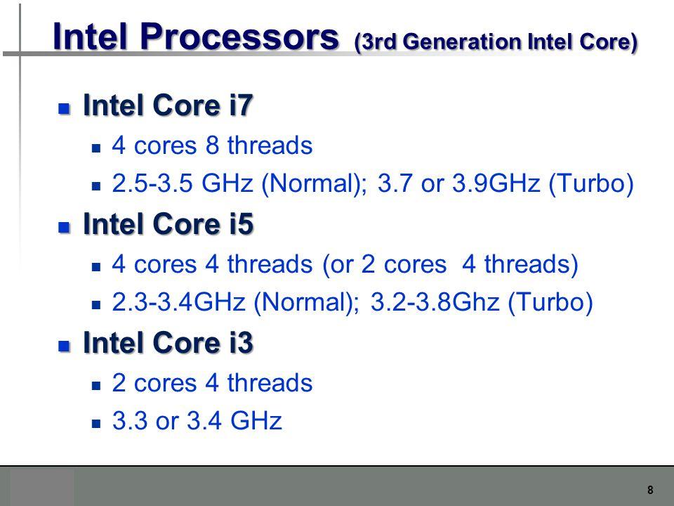 8 Intel Processors (3rd Generation Intel Core) Intel Core i7 Intel Core i7 4 cores 8 threads 2.5-3.5 GHz (Normal); 3.7 or 3.9GHz (Turbo) Intel Core i5