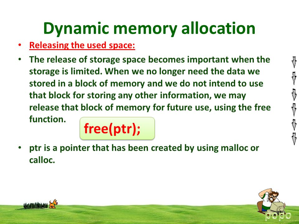 Dynamic memory allocation Releasing the used space: The release of storage space becomes important when the storage is limited. When we no longer need
