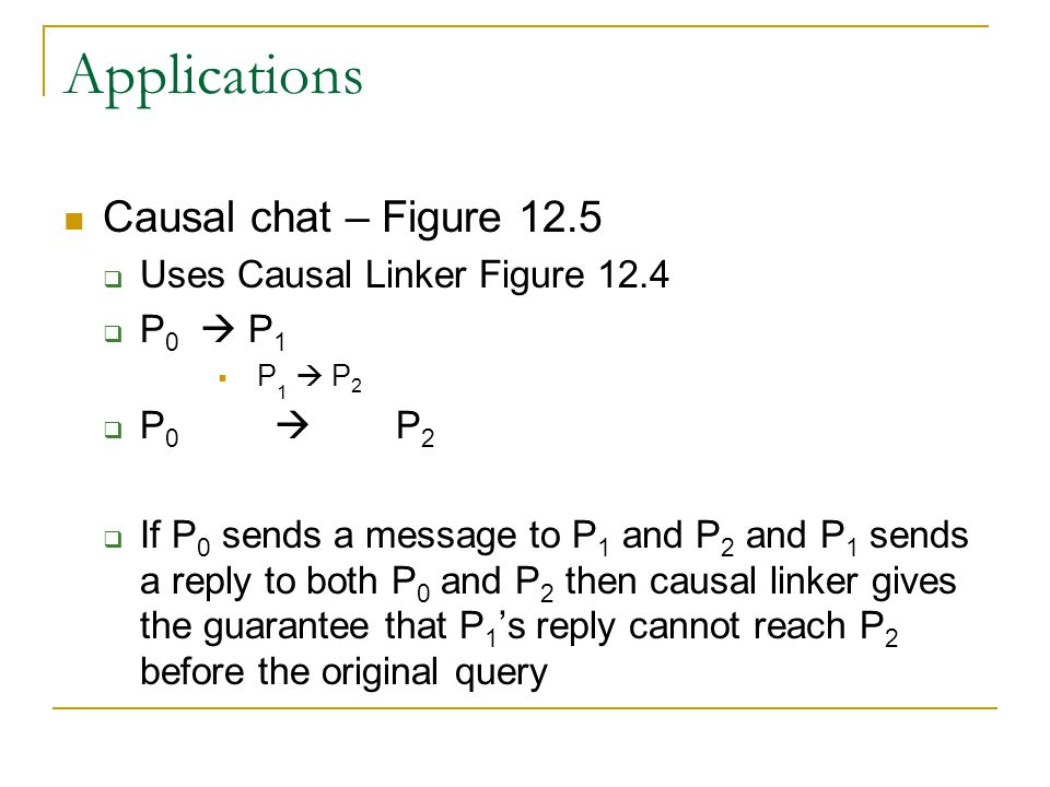 Applications Causal chat – Figure 12.5  Uses Causal Linker Figure 12.4  P 0  P 1  P 1  P 2  P 0  P 2  If P 0 sends a message to P 1 and P 2 and P 1 sends a reply to both P 0 and P 2 then causal linker gives the guarantee that P 1 's reply cannot reach P 2 before the original query