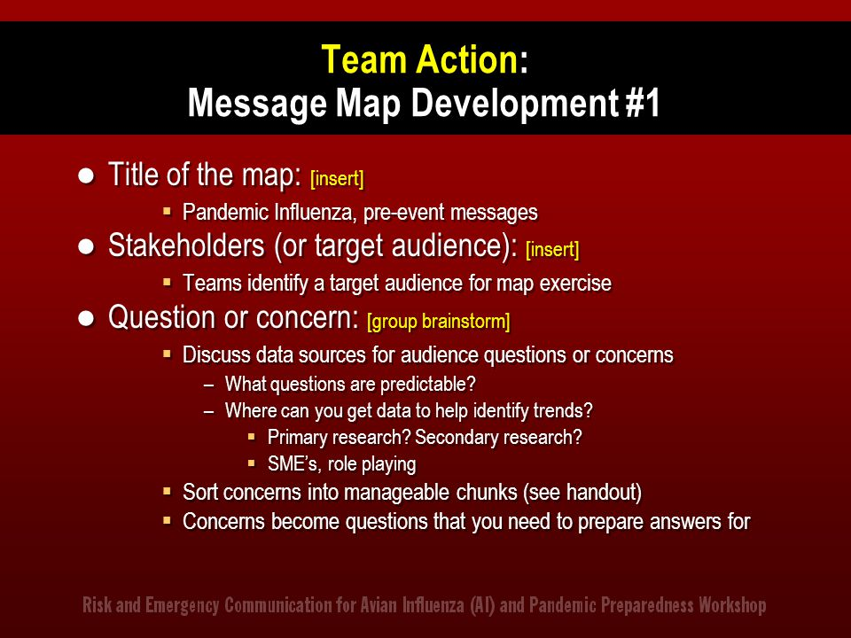 Team Action: Message Map Development #1 Title of the map: [insert]  Pandemic Influenza, pre-event messages Stakeholders (or target audience): [insert