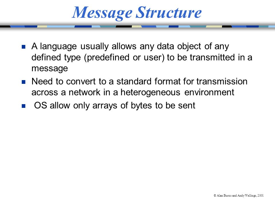 © Alan Burns and Andy Wellings, 2001 Message Structure n A language usually allows any data object of any defined type (predefined or user) to be transmitted in a message n Need to convert to a standard format for transmission across a network in a heterogeneous environment n OS allow only arrays of bytes to be sent