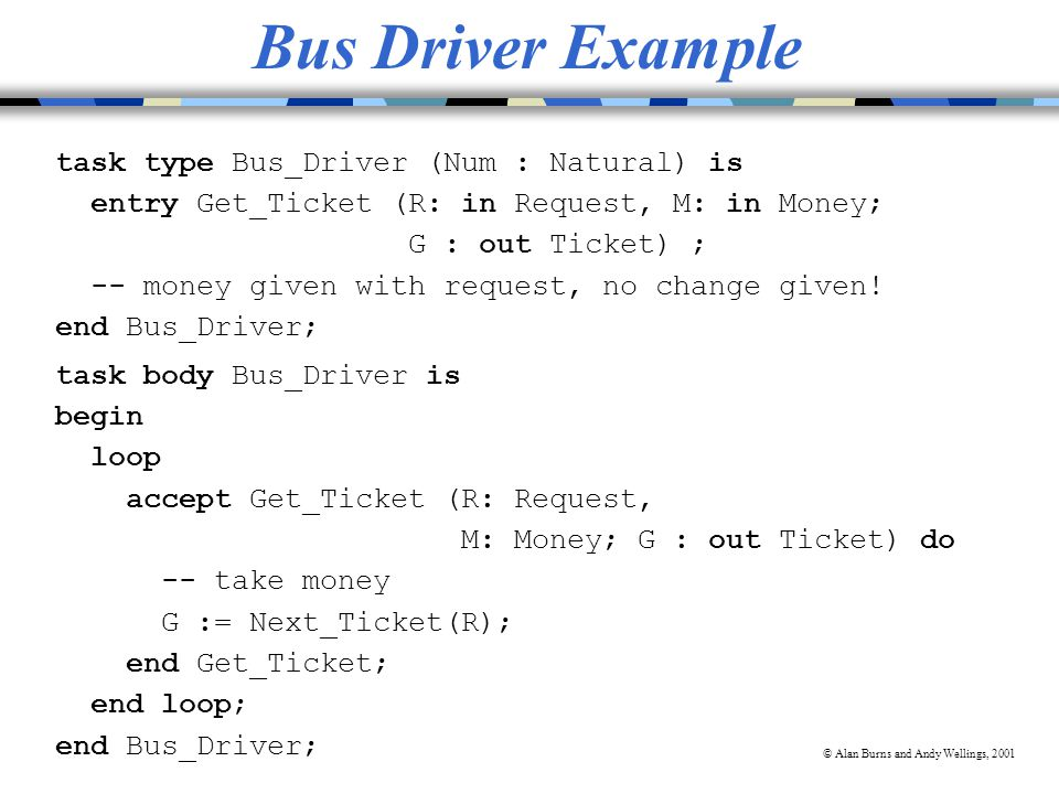 © Alan Burns and Andy Wellings, 2001 Bus Driver Example task type Bus_Driver (Num : Natural) is entry Get_Ticket (R: in Request, M: in Money; G : out Ticket) ; -- money given with request, no change given.