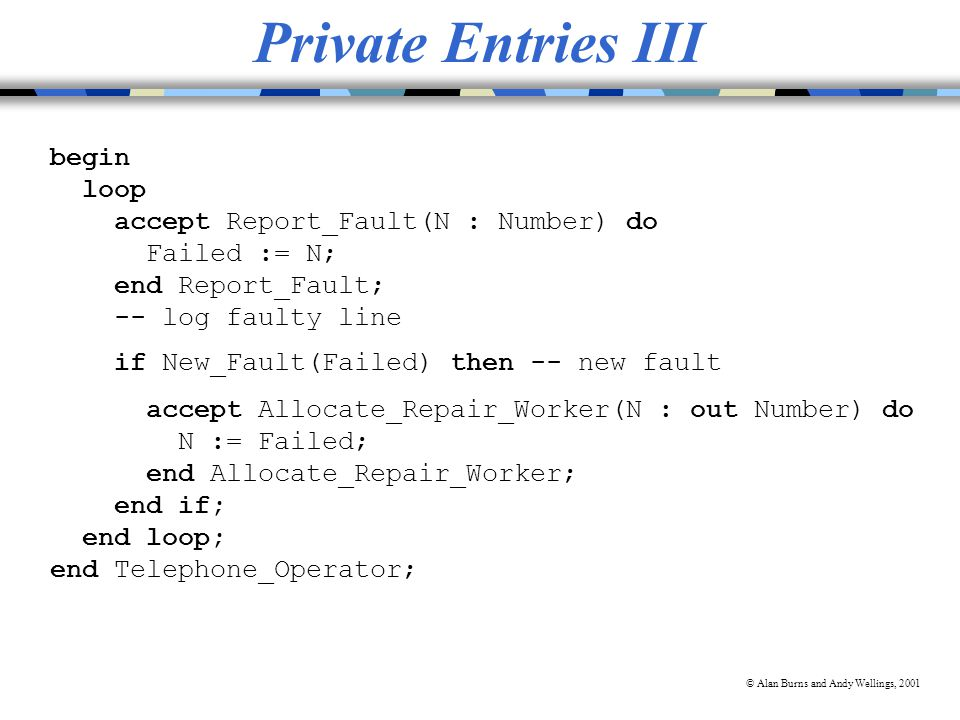 © Alan Burns and Andy Wellings, 2001 Private Entries III begin loop accept Report_Fault(N : Number) do Failed := N; end Report_Fault; -- log faulty line if New_Fault(Failed) then -- new fault accept Allocate_Repair_Worker(N : out Number) do N := Failed; end Allocate_Repair_Worker; end if; end loop; end Telephone_Operator;