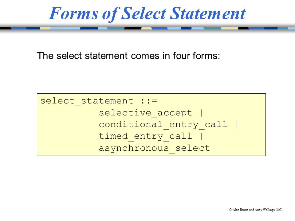 © Alan Burns and Andy Wellings, 2001 select_statement ::= selective_accept | conditional_entry_call | timed_entry_call | asynchronous_select Forms of Select Statement The select statement comes in four forms: