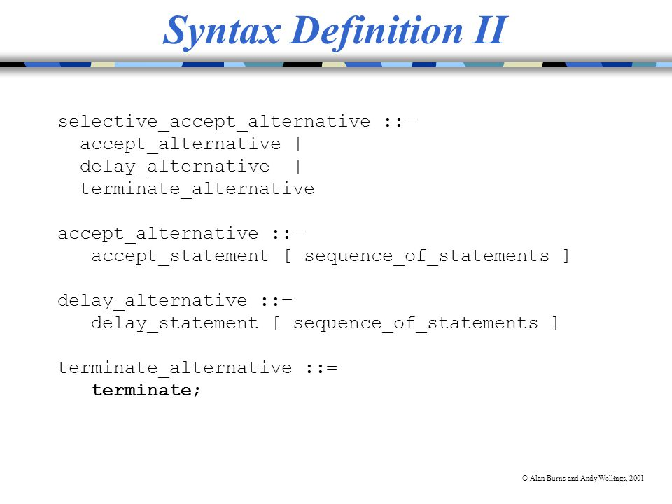 © Alan Burns and Andy Wellings, 2001 Syntax Definition II selective_accept_alternative ::= accept_alternative | delay_alternative | terminate_alternative accept_alternative ::= accept_statement [ sequence_of_statements ] delay_alternative ::= delay_statement [ sequence_of_statements ] terminate_alternative ::= terminate;