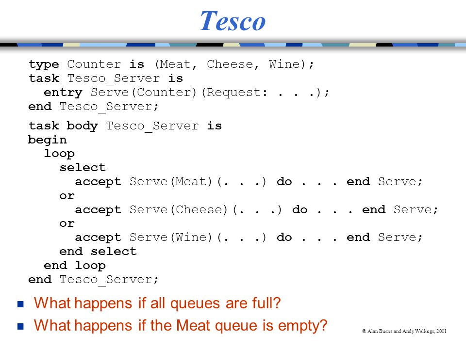 © Alan Burns and Andy Wellings, 2001 Tesco type Counter is (Meat, Cheese, Wine); task Tesco_Server is entry Serve(Counter)(Request:...); end Tesco_Server; task body Tesco_Server is begin loop select accept Serve(Meat)(...) do...