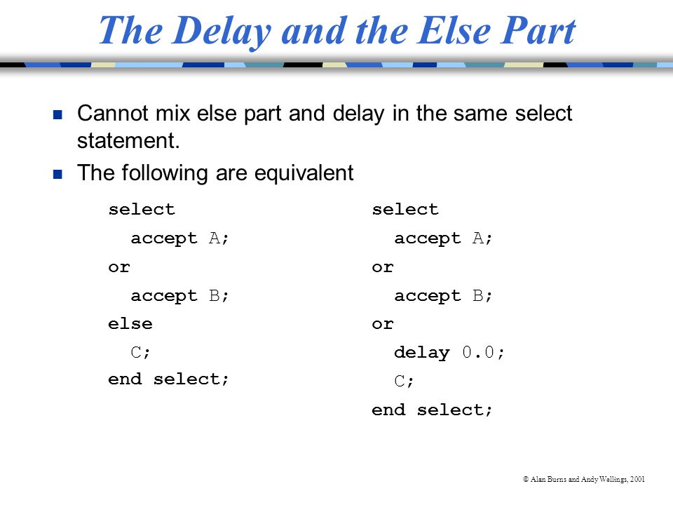 © Alan Burns and Andy Wellings, 2001 The Delay and the Else Part n Cannot mix else part and delay in the same select statement.