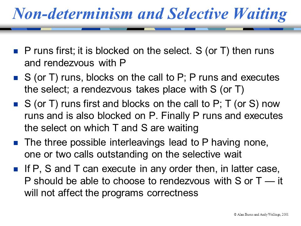 © Alan Burns and Andy Wellings, 2001 Non-determinism and Selective Waiting n P runs first; it is blocked on the select.