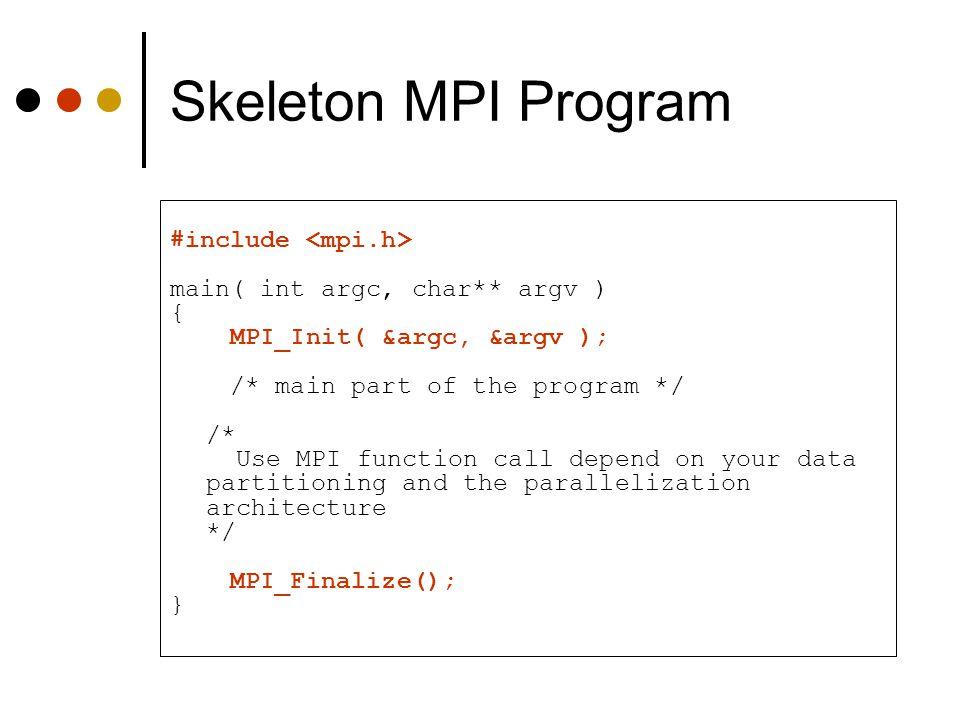 Skeleton MPI Program #include main( int argc, char** argv ) { MPI_Init( &argc, &argv ); /* main part of the program */ /* Use MPI function call depend