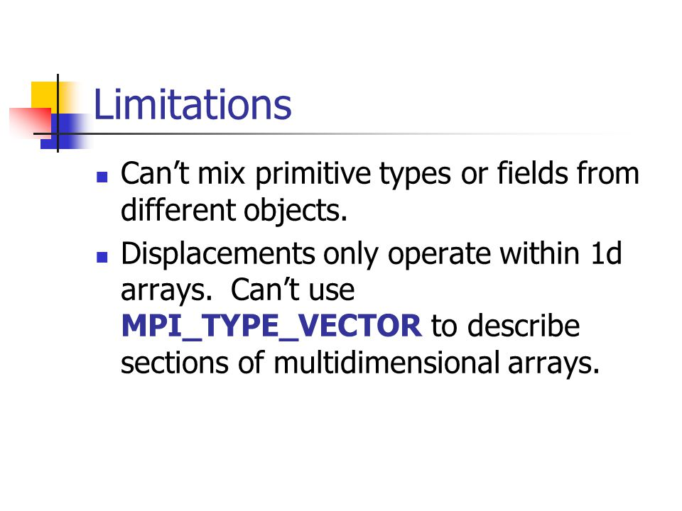 Limitations Can't mix primitive types or fields from different objects.