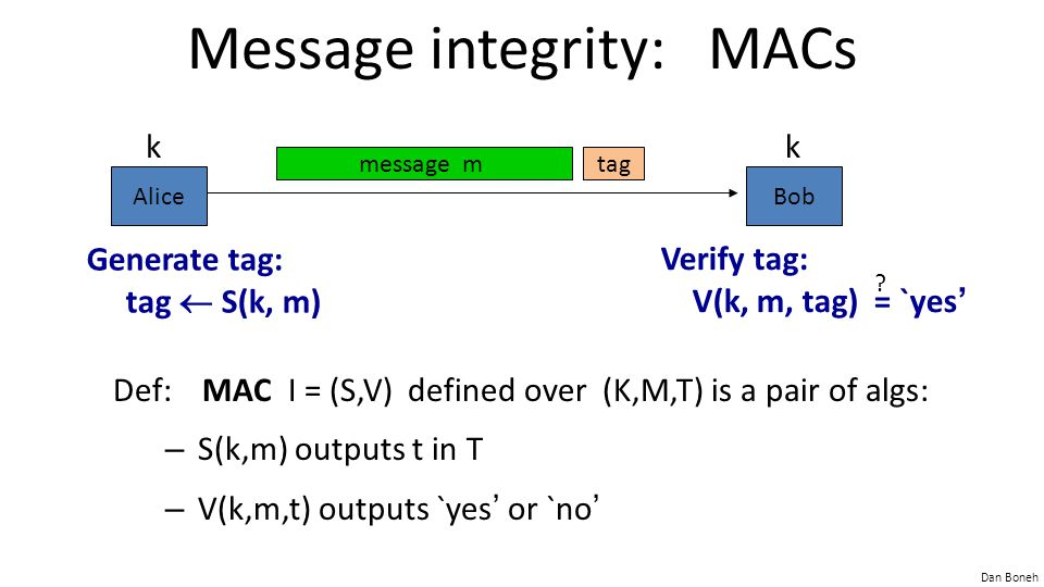 Dan Boneh Message integrity: MACs Def: MAC I = (S,V) defined over (K,M,T) is a pair of algs: – S(k,m) outputs t in T – V(k,m,t) outputs `yes ' or `no ' AliceBob kk message mtag Generate tag: tag  S(k, m) Verify tag: V(k, m, tag) = `yes ' ?