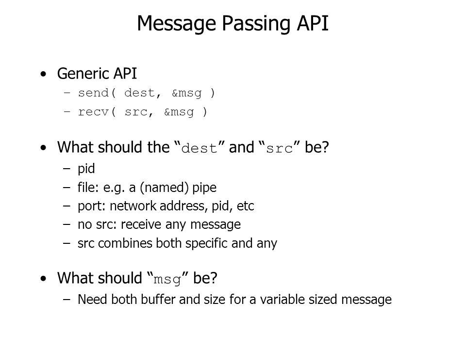 Message Passing API Generic API –send( dest, &msg ) –recv( src, &msg ) What should the dest and src be.