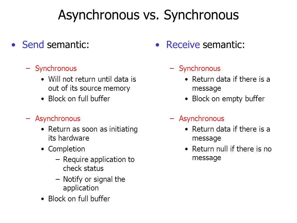 Buffering No buffering –synchronous –Sender must wait until the receiver receives the message –Rendezvous on each message Buffering –asynchronous or synchronous –Bounded buffer Finite size Sender blocks when the buffer is full Use mesa-monitor to solve the problem.