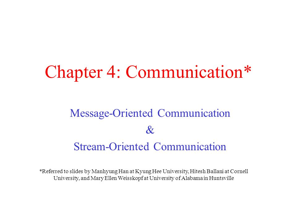 Chapter 4: Communication* Message-Oriented Communication & Stream-Oriented Communication *Referred to slides by Manhyung Han at Kyung Hee University,