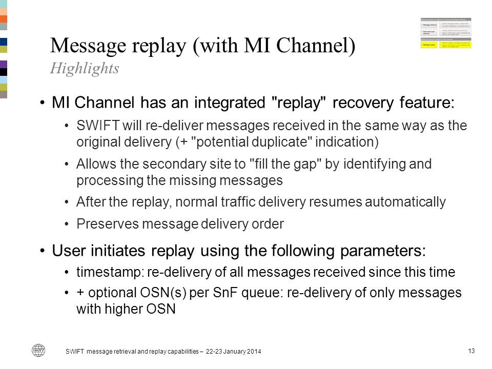 Message replay (with MI Channel) Highlights MI Channel has an integrated