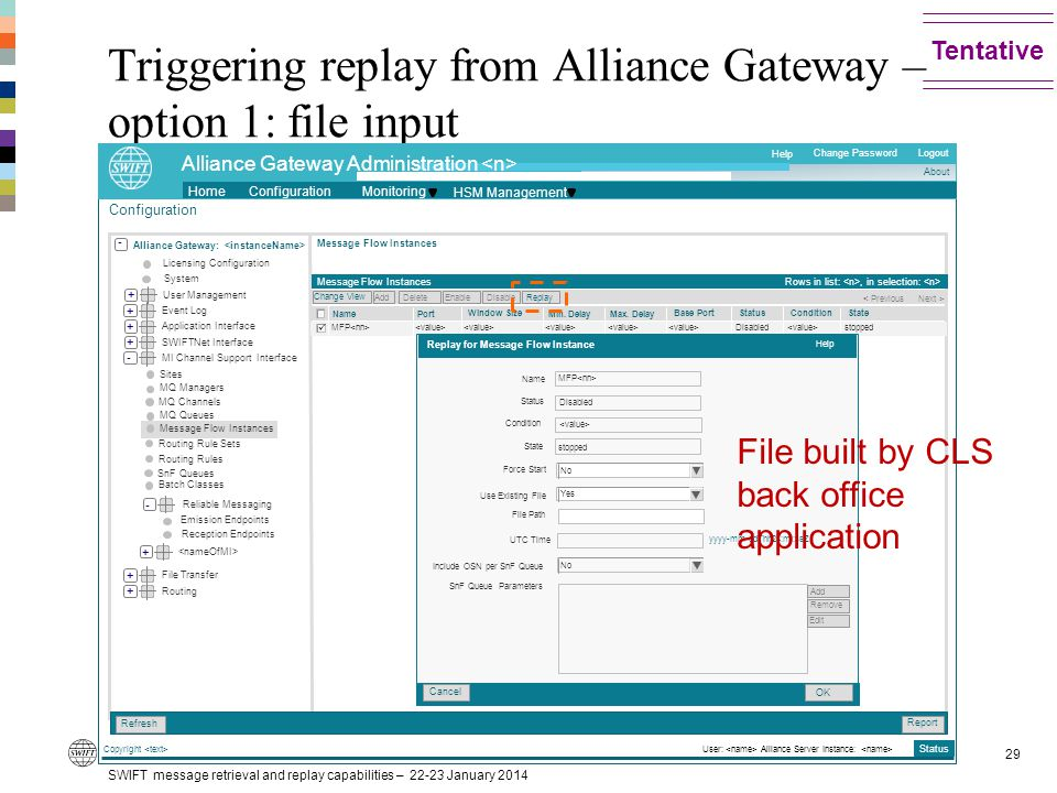 Triggering replay from Alliance Gateway – option 1: file input SWIFT message retrieval and replay capabilities – 22-23 January 2014 29 Tentative Cance