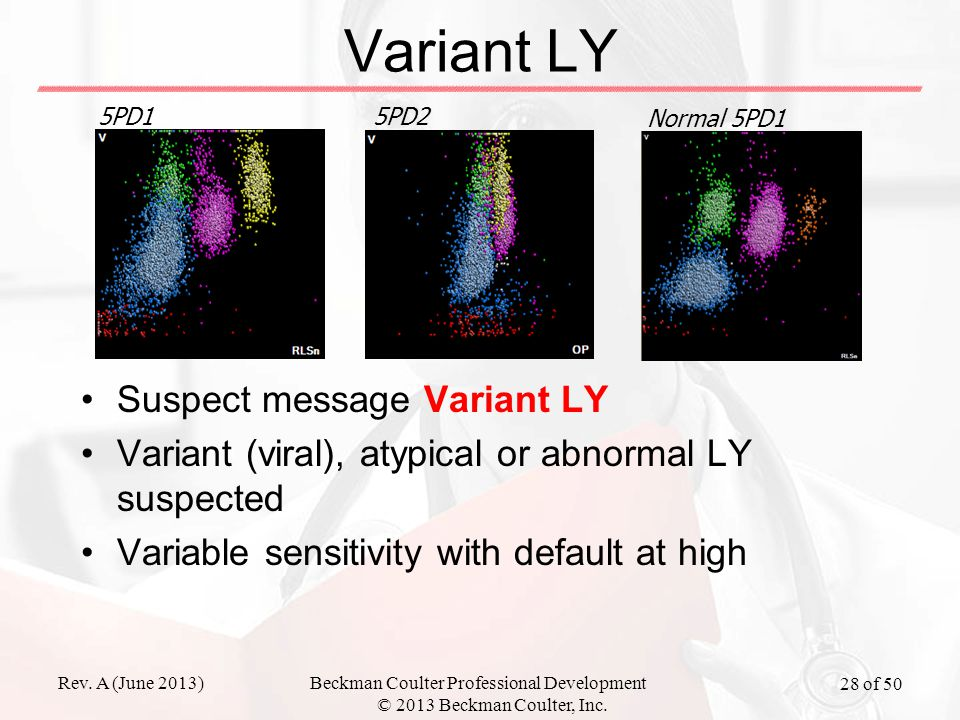 Rev. A (June 2013)Beckman Coulter Professional Development © 2013 Beckman Coulter, Inc. 28 of 50 Variant LY Suspect message Variant LY Variant (viral)