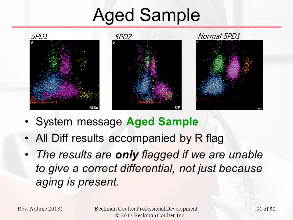 Rev. A (June 2013)Beckman Coulter Professional Development © 2013 Beckman Coulter, Inc. 31 of 50 Aged Sample System message Aged Sample All Diff resul