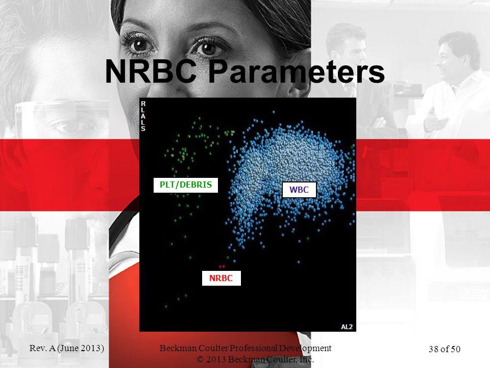 Rev. A (June 2013)Beckman Coulter Professional Development © 2013 Beckman Coulter, Inc. 38 of 50 NRBC Parameters PLT/DEBRIS WBC NRBC