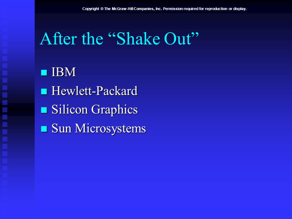 "Copyright © The McGraw-Hill Companies, Inc. Permission required for reproduction or display. After the ""Shake Out"" IBM IBM Hewlett-Packard Hewlett-Pac"