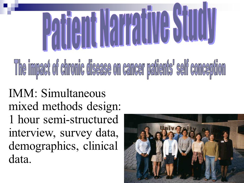 IMM: Simultaneous mixed methods design: 1 hour semi-structured interview, survey data, demographics, clinical data.