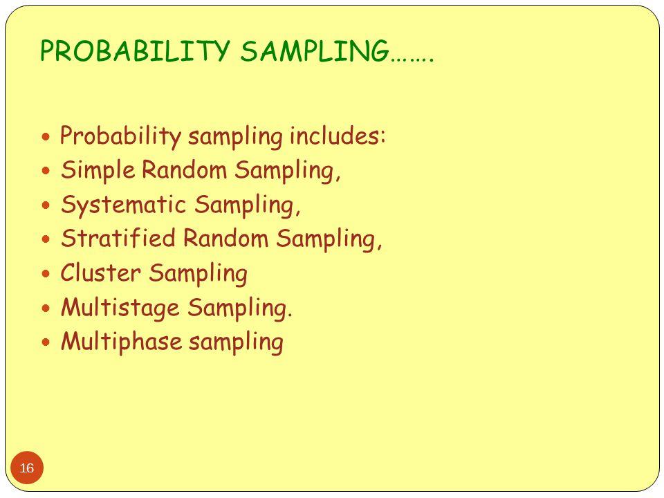 PROBABILITY SAMPLING……. 16 Probability sampling includes: Simple Random Sampling, Systematic Sampling, Stratified Random Sampling, Cluster Sampling Mu