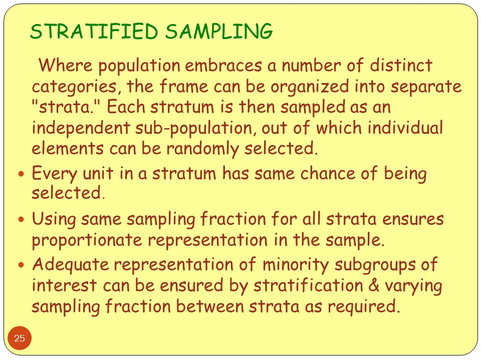 STRATIFIED SAMPLING 25 Where population embraces a number of distinct categories, the frame can be organized into separate