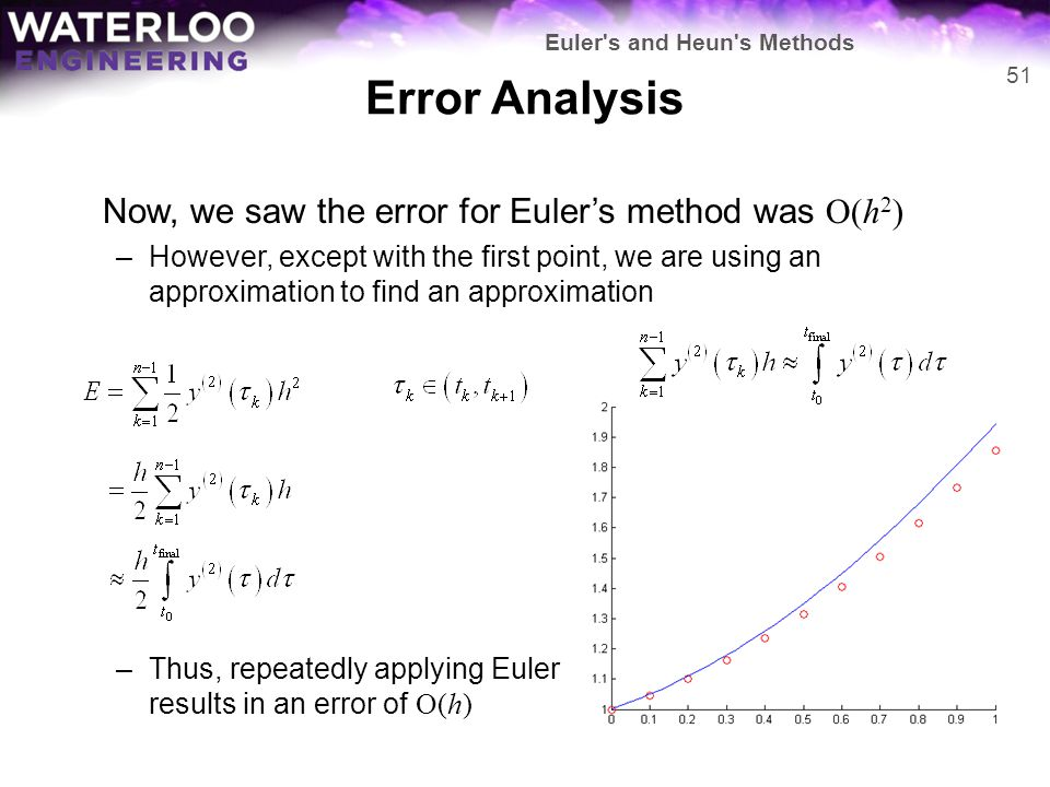 Error Analysis Now, we saw the error for Euler's method was O(h 2 ) –However, except with the first point, we are using an approximation to find an ap