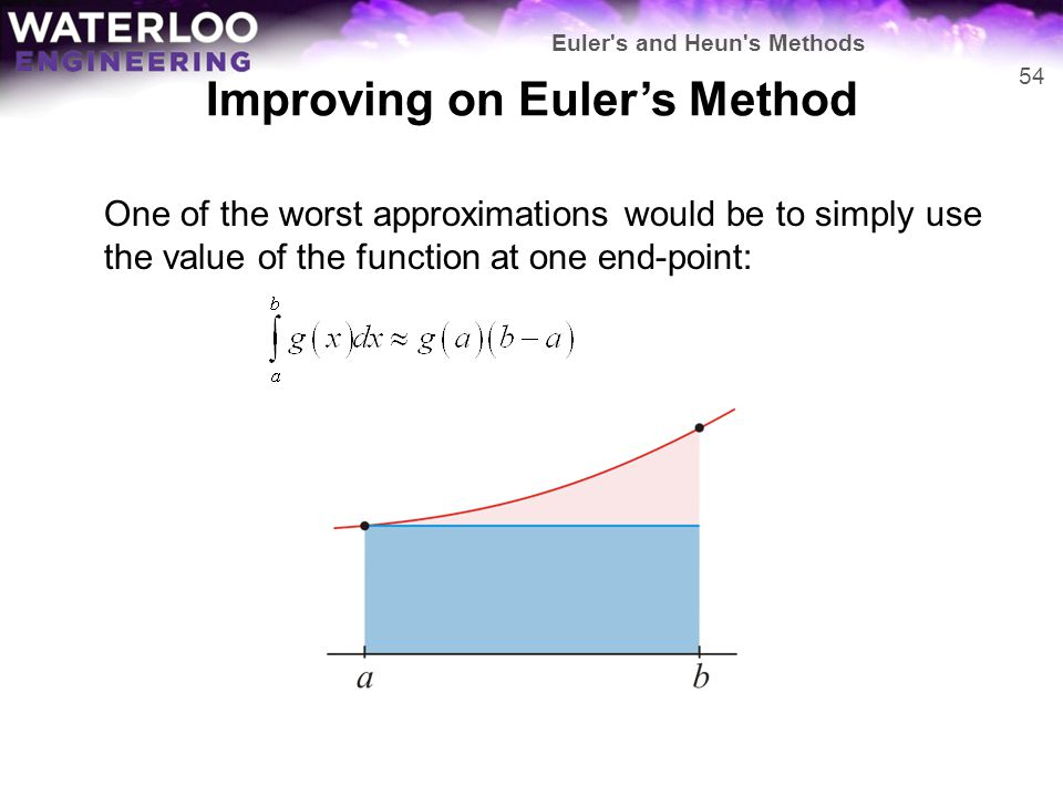 Improving on Euler's Method One of the worst approximations would be to simply use the value of the function at one end-point: 54 Euler's and Heun's M