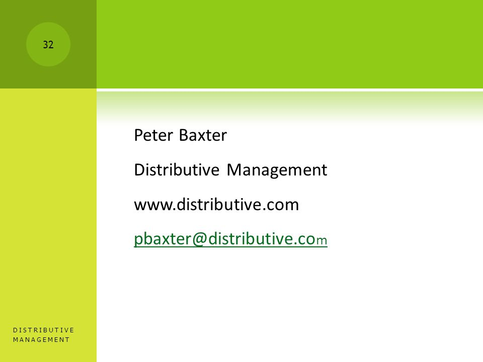 Peter Baxter Distributive Management   m DISTRIBUTIVE MANAGEMENT 32