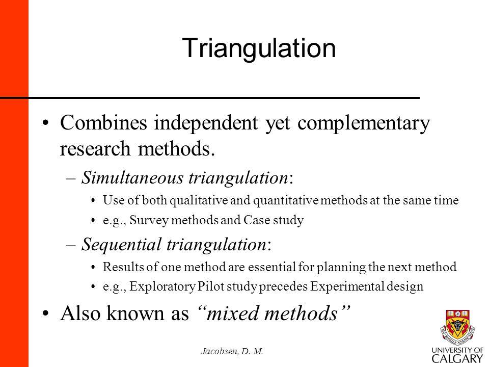Jacobsen, D.M. Triangulation Combines independent yet complementary research methods.