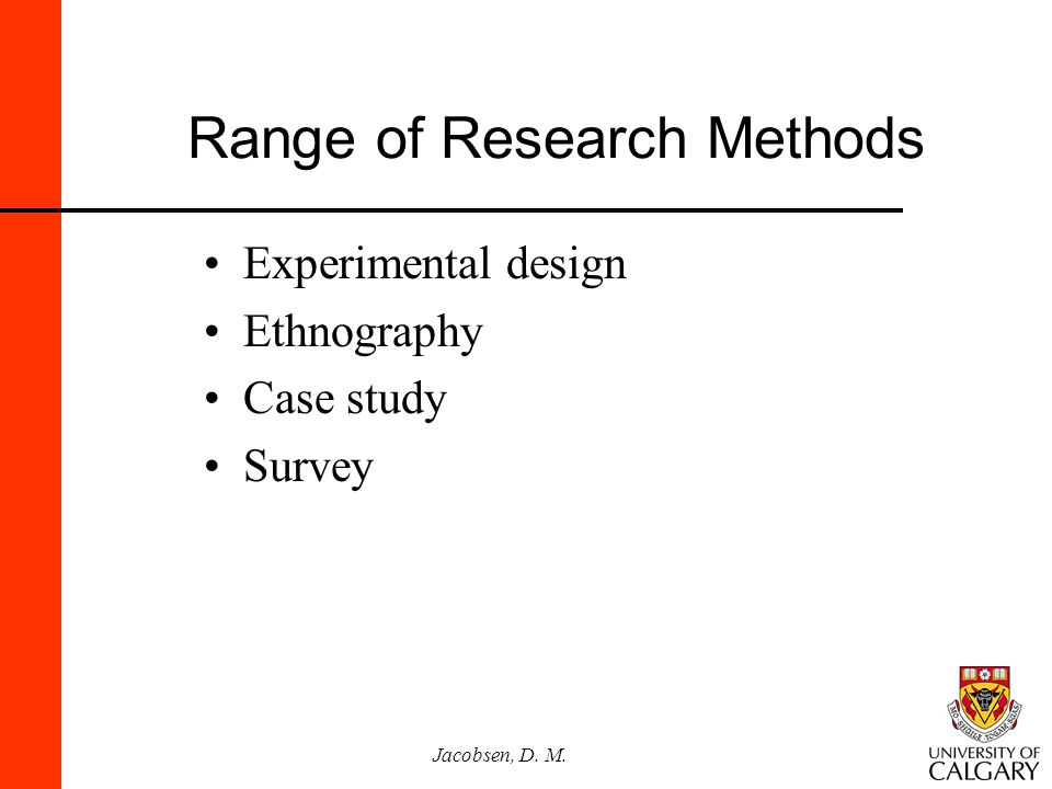 Jacobsen, D. M. Range of Research Methods Experimental design Ethnography Case study Survey