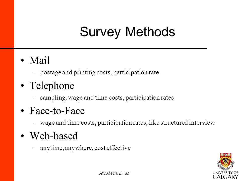 Jacobsen, D. M. Survey Methods Mail –postage and printing costs, participation rate Telephone –sampling, wage and time costs, participation rates Face